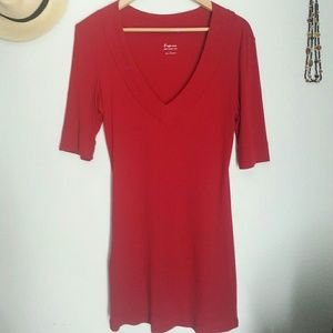 """Express cranberry red """"sexy basic"""" top"""